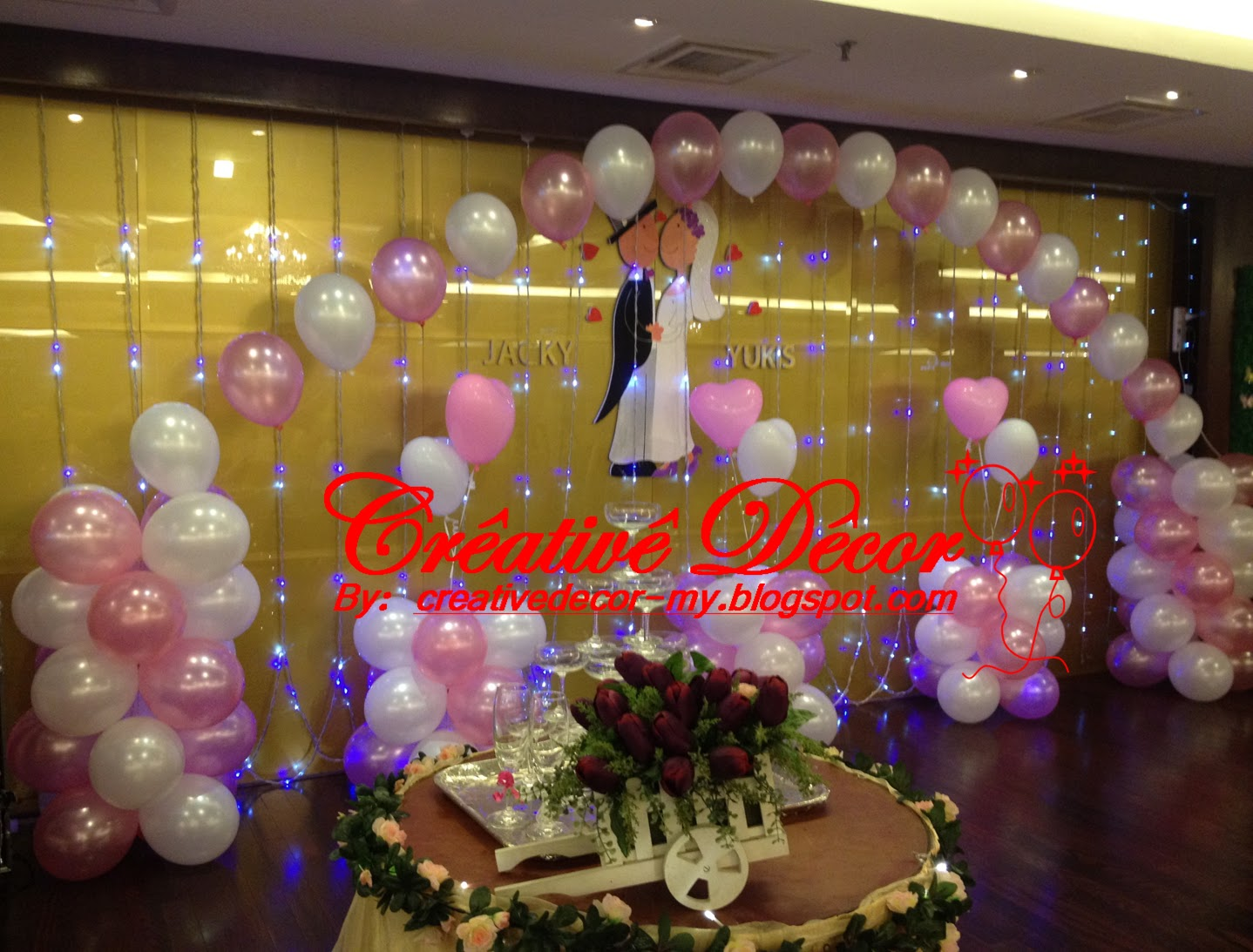 Pin balloons decoration stage arch table on pinterest for Balloon decoration for stage