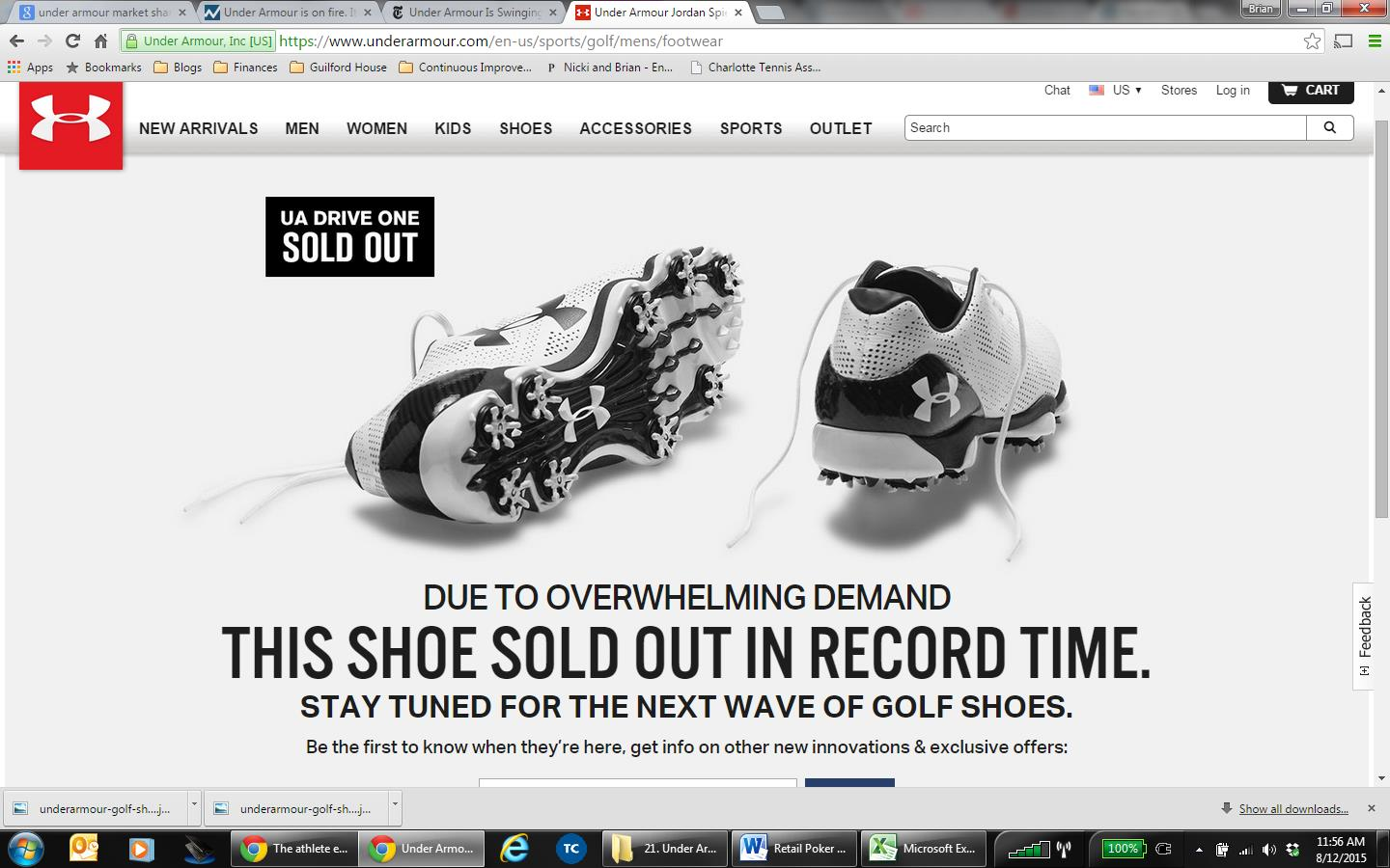 under armour website as of august 12 2015 the jordan spieth ua drive one is still sold out