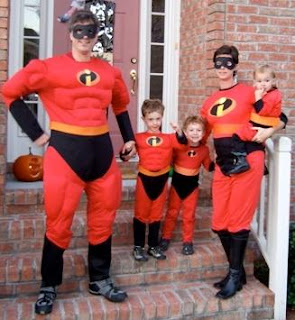 Randy Pausch and family in Incredibles halloween costume
