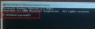 Pastikan Alamat atau path pada CMD di C-Windows-system32