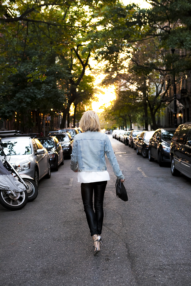 Fashion Over Reason, walking off into the sunset, golden hour, New York City street, West village, Gap jean jacket, Trash & Vaudeville leather pants