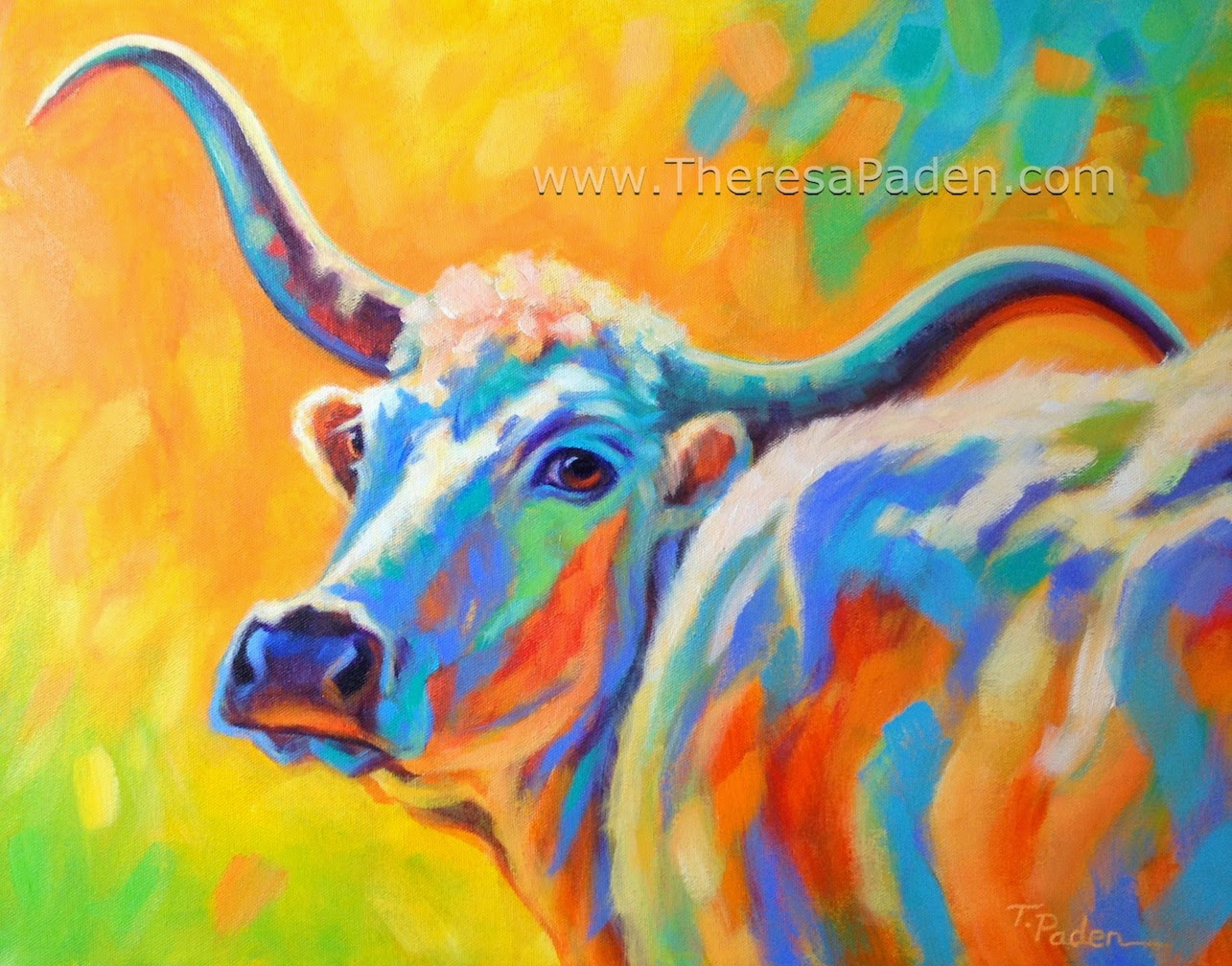 Colorful Longhorn Painting
