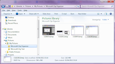Windows Explorer showing the Microsoft Clip Organizer folder