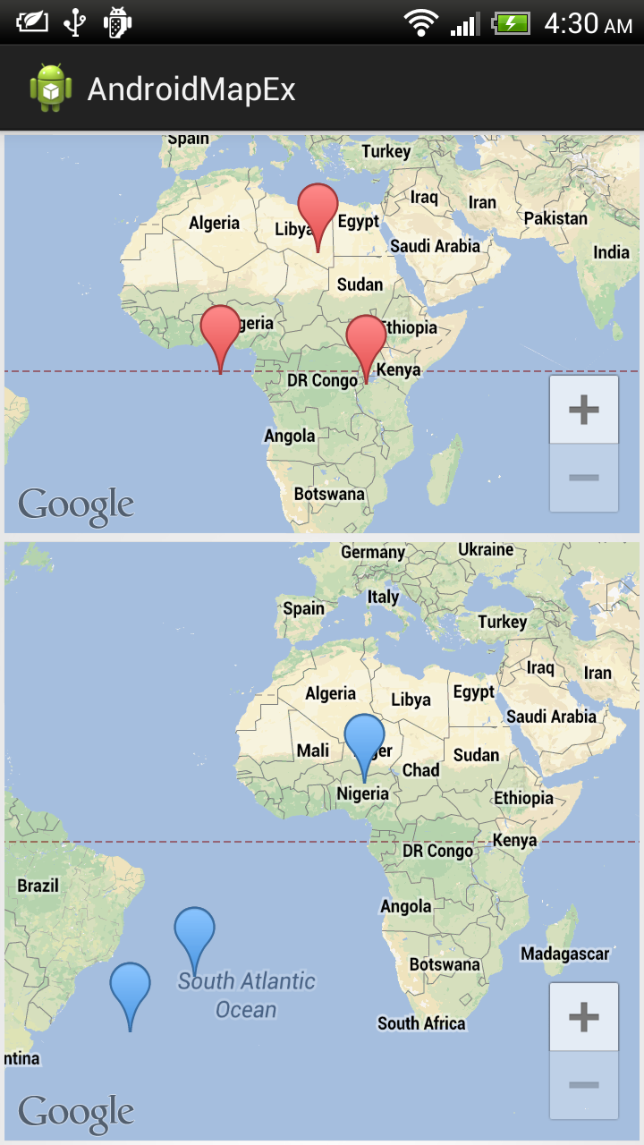 Android-er: Dual MapFragment of Google Maps Android API v2