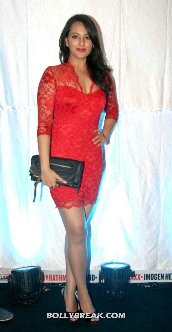 Sonakshi Sinha in Red Hot Dress - (6) - Sonakshi Sinha Thighs , Legs Pics