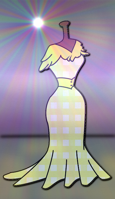 Une robe jaune à motif vichy dans une vitrine de mode ; une illustration réalisée sur ordinateur par Florence Gobled, auteur de livre pour enfants et illustratrice jeunesse à Autun en Bourgogne