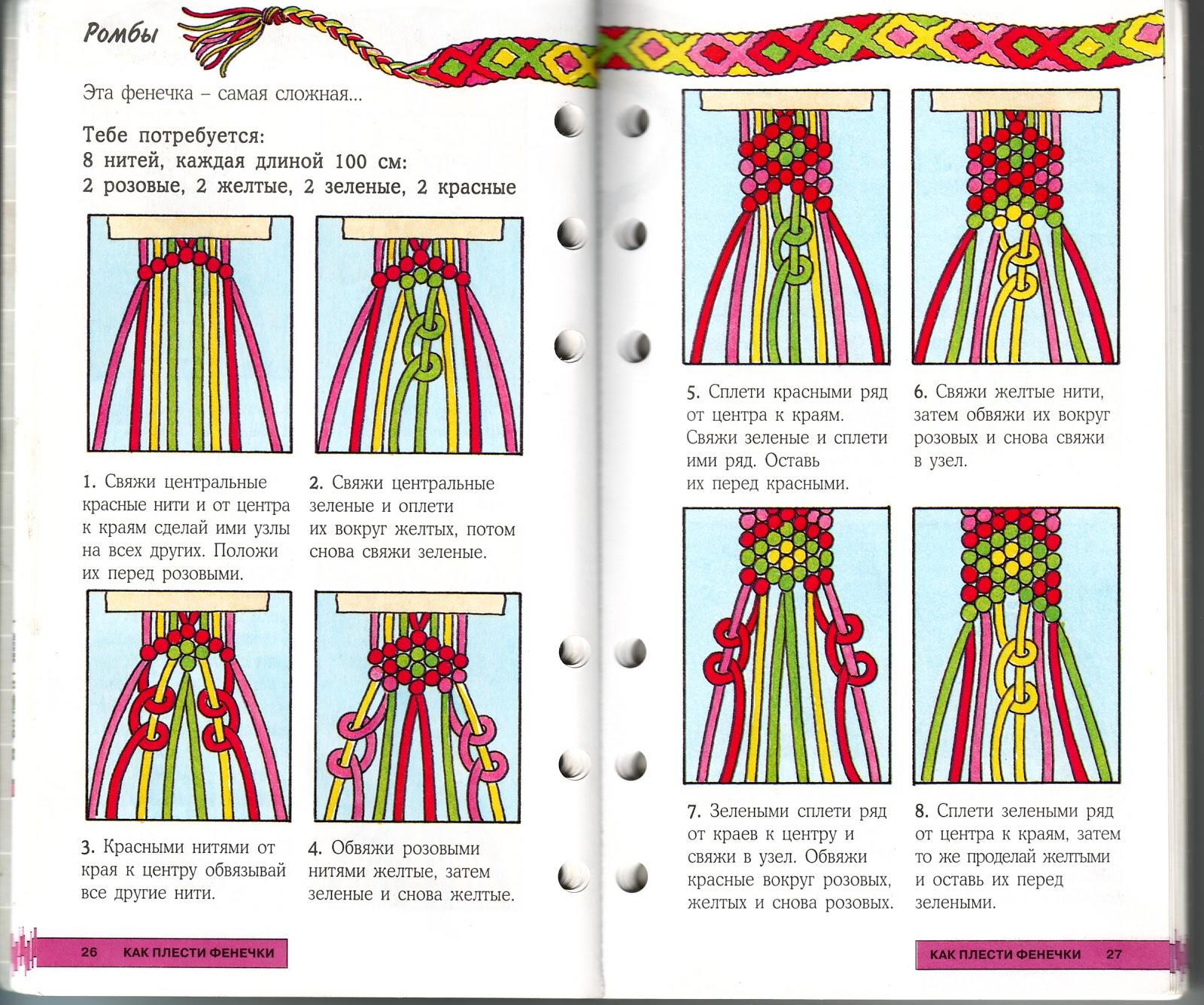 Плетение фенечек из мулине для начинающих из 4 ниток схемы фото
