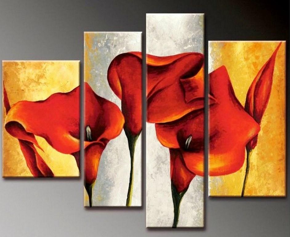 cuadros trpticos de flores pintados al leo