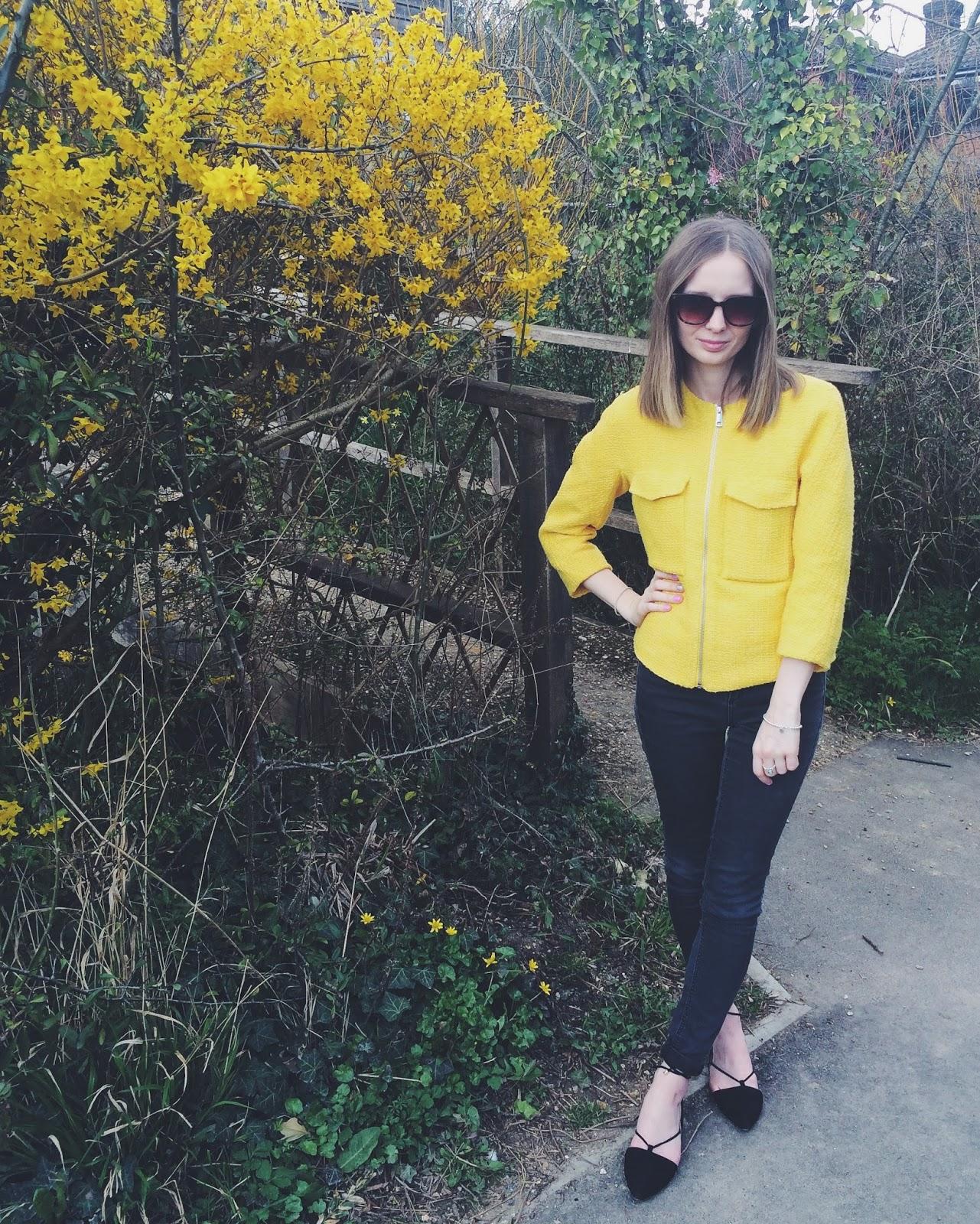 H&M Yellow Jacket, Next Ghillie Lace up pumps, Topshop MOTO black jeans