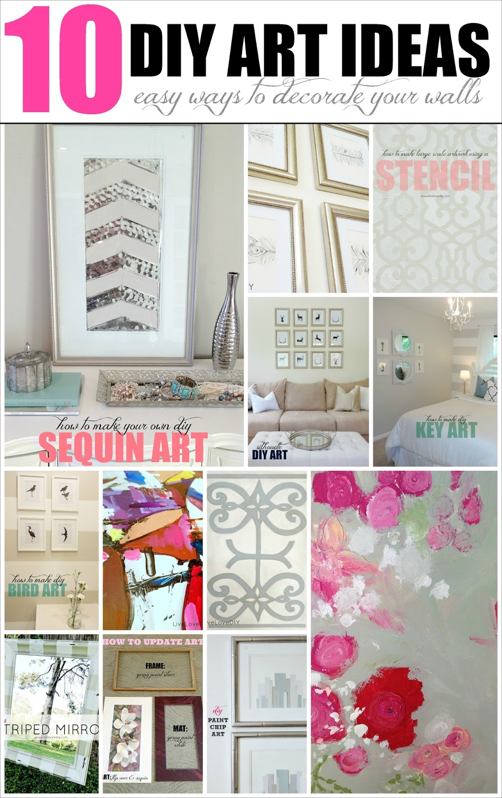 Livelovediy 10 diy art ideas easy ways to decorate your for Cheap home stuff