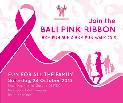 Bali Pink Ribbon 5K Ralk and Walk 2015, lomba lari di bali, kanker payudara, pita merah muda