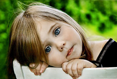 Beautiful girl kid thinking picture