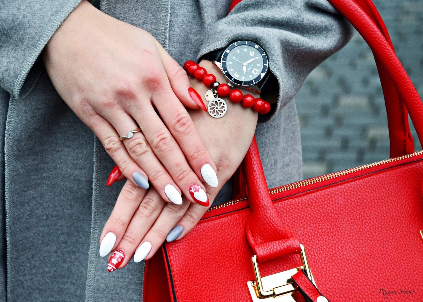 Akademia Piękna, stylizacja paznokci, czerwone paznokcie, białe paznokcie