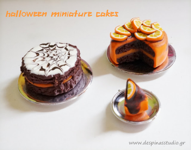 Polymer clay miniature cakes for Halloween