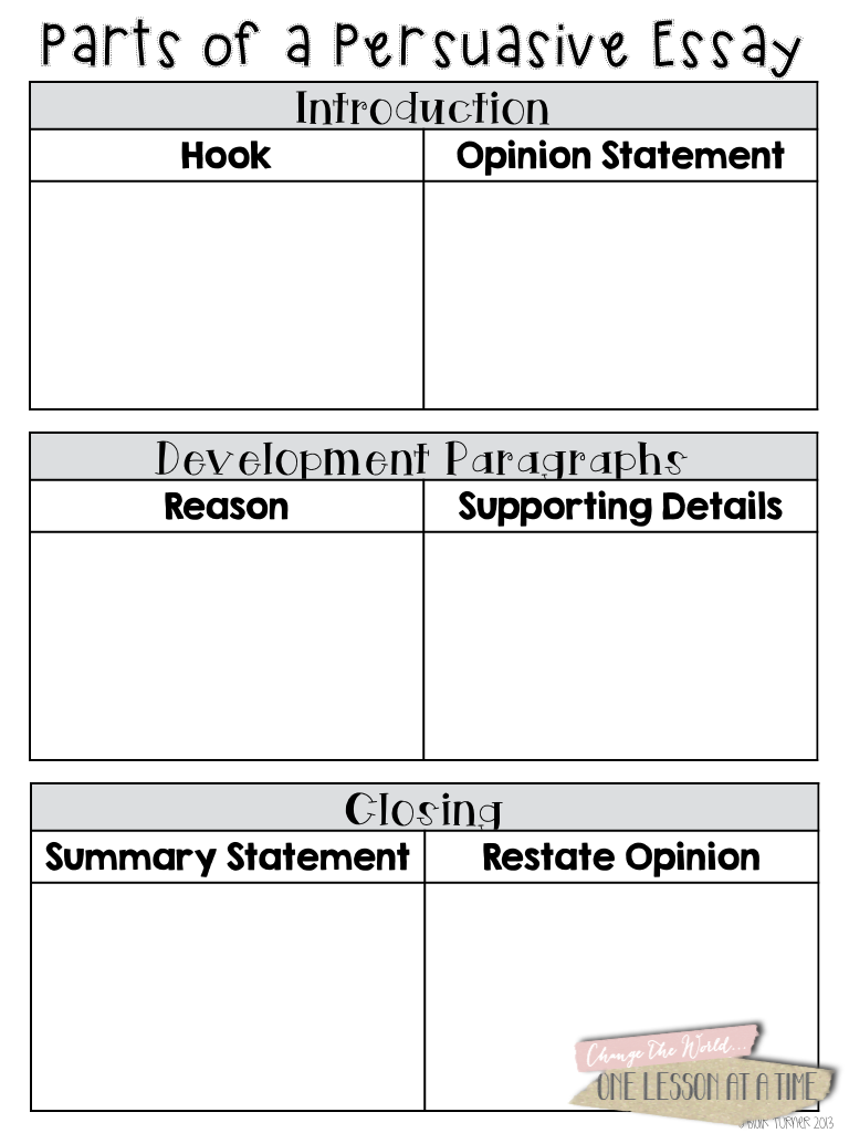 4th grade essay graphic organizer