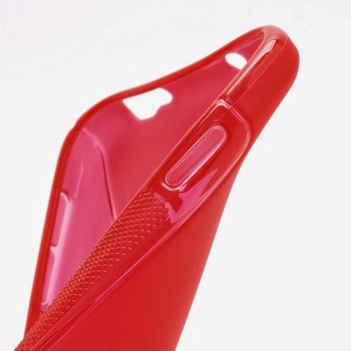 S-Curve Soft TPU Jelly Case for Samsung Galaxy S 4 IV i9500 i9502 i9505 - Red Transparant