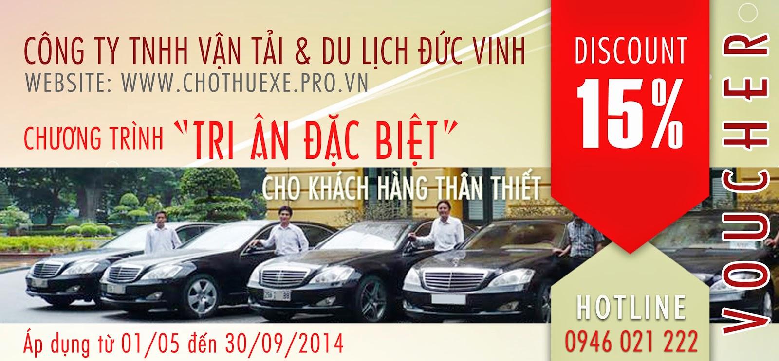 Khuyến mãi cho thuê xe 4 chỗ Discount 15% tại Hà Nội