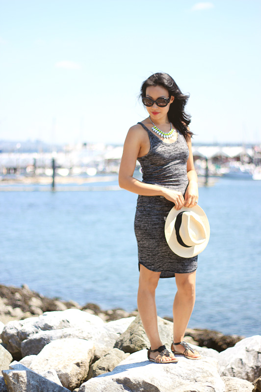 summer, summer fashion, Aritzia, Wilfred Free Yasmin dress, H&M Panama hat, statement necklace, neon, Prada baroque sunglasses, Seychelles sandals, MAC RiRi Woo lipstick, Zara bag