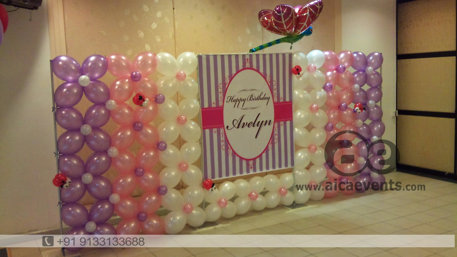 Aicaevents balloon decoration for birthday parties for Balloon decoration on wall for birthday