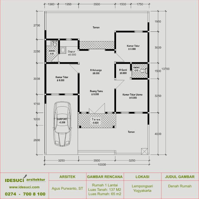 Desain Rumah 1 Lantai Type 65 di Lempongsari