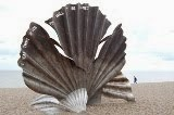 """The Scallop"" - the memorial to Benjamin Britten on Aldeburgh Beach, Suffolk."