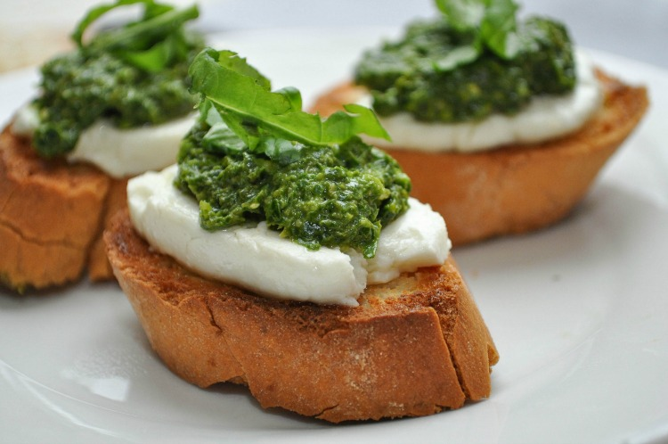 Pesto Cheese Crostini Recipe — Dishmaps