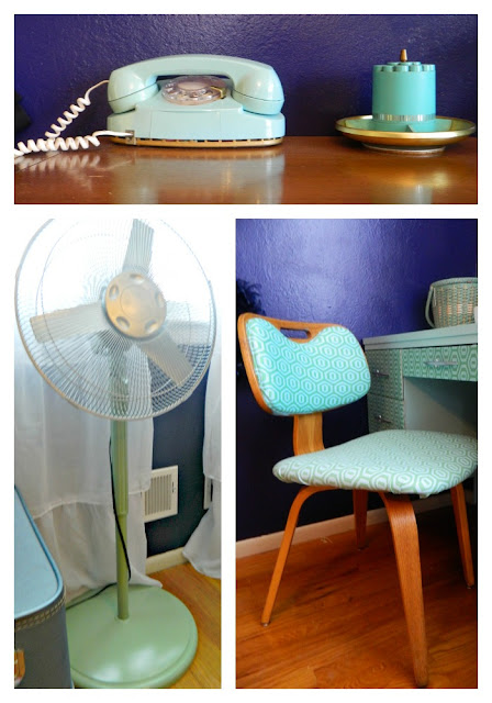 retro painted fan seafoam reupholstered thonet chair DIY Amy Butler Just Peachy, Darling