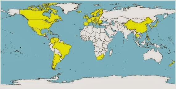 Hình 1. Những nước đã được chẩn đoán có PCV2-SD (màu vàng)
