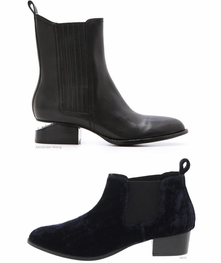 Alexander Wang Anouck boots ASOS velvet navy chelsea boots