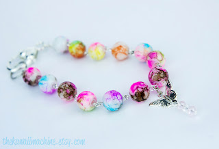 kawaii fairy kei watercolor beaded bracelet