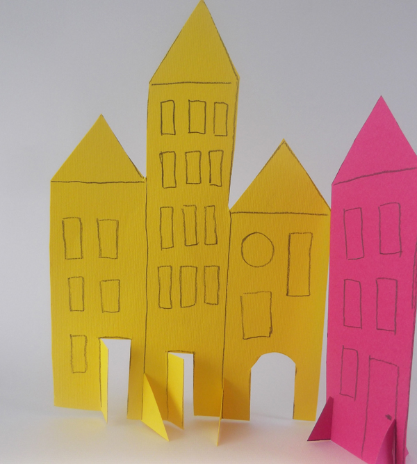 paper, art, crafts, kids, building, city, paper city, children