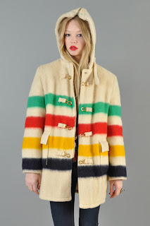Vintage 1970's cream colored Hudson Bay wool coat with signature rainbow stripe