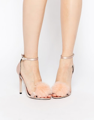 Asos ankle strap high heels with pom poms