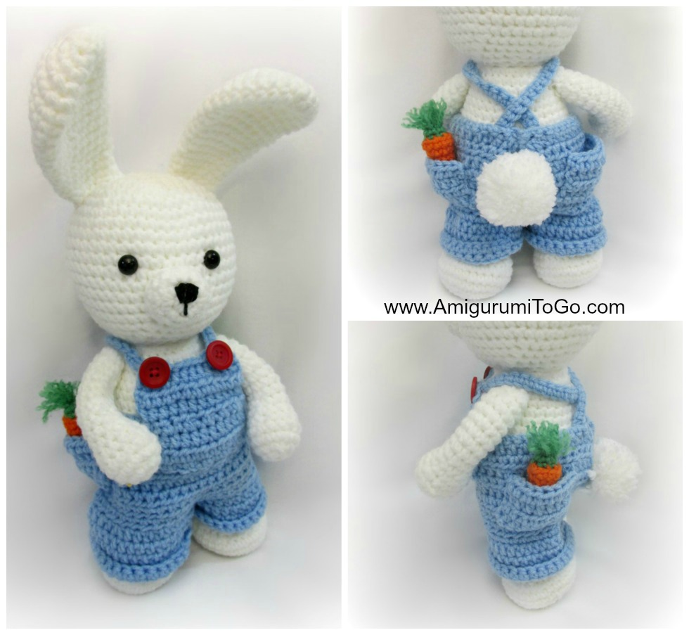 Free Crochet Pattern For A Rabbit : Overalls For Dress Me Bunny Boy Clothes ~ Amigurumi To Go