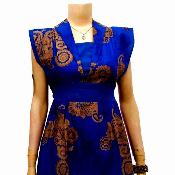 DB3703 Mode Baju Dress Batik Modern Terbaru 2014