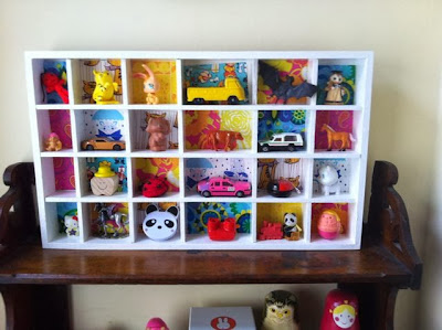 shelving makeover with vintage giftwrap