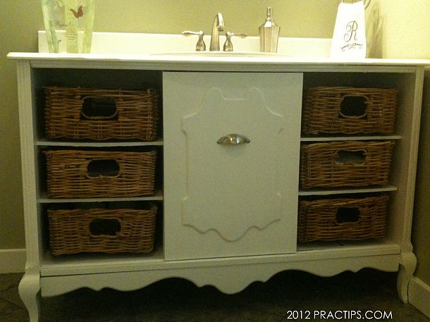 This old stereo cabinet, shared by Practips , makes a perfect bathroom ...