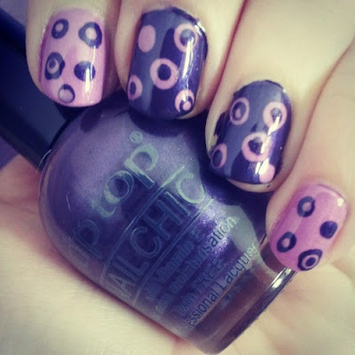 purple polka dot nail art