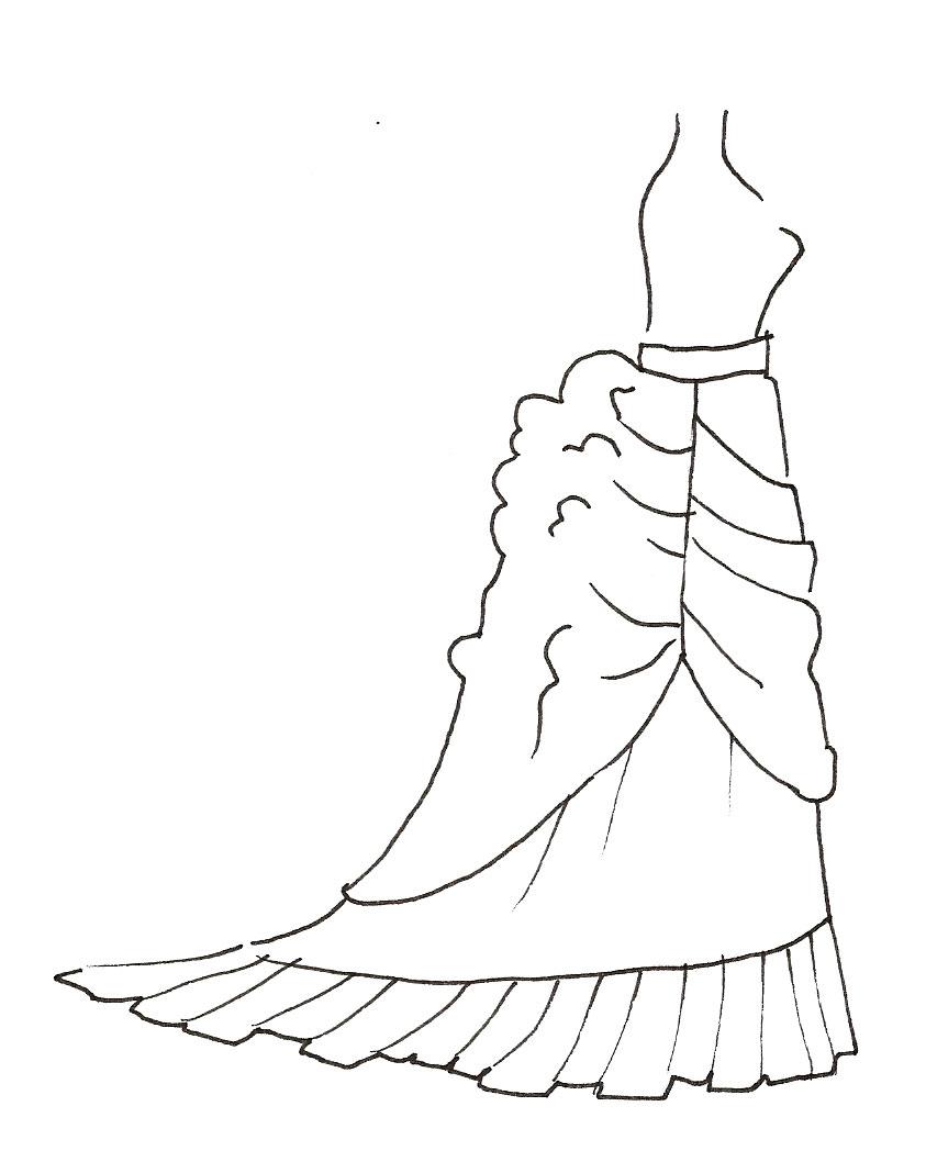 Six Pieces: Upper Skirt Front (the Apron), Upper Skirt Back (the  Bustle), Underskirt Front, Underskirt Back, Underskirt Hem Ruffle And The  Waistband