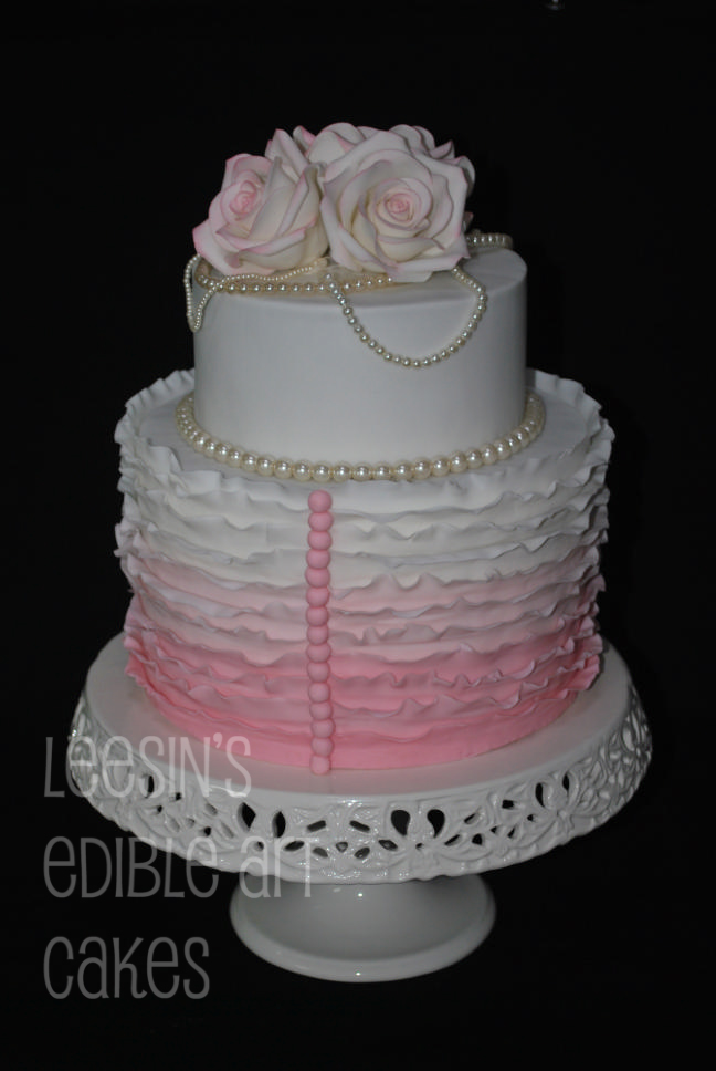 Penang Wedding Cakes By Leesin Pink Ombre Ruffle Cake
