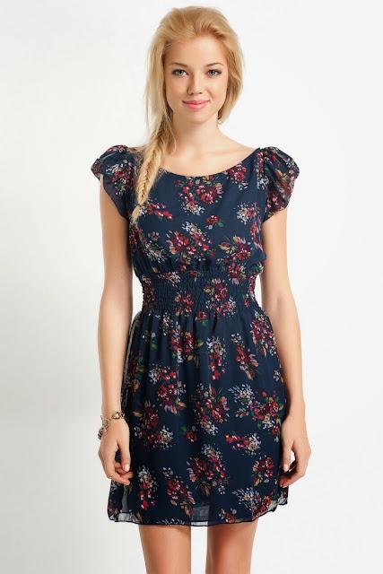 desenli çiçekli elbise koton 2014