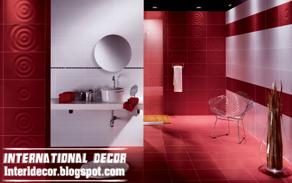 Red and White Tile Bathroom Walls Designs