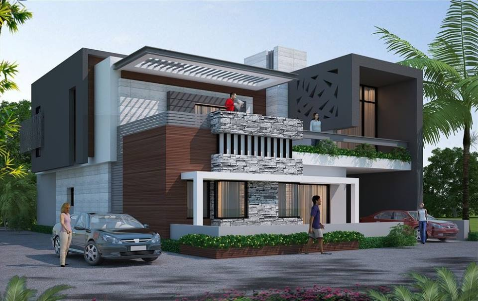 8 modern stunning house residences with elegant exteriors for Villa plans and designs