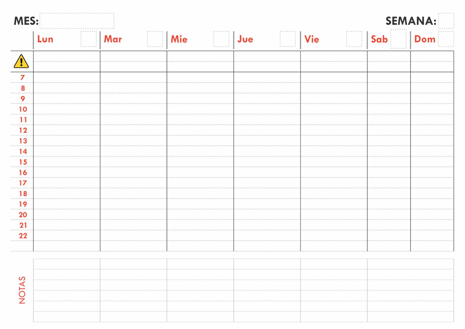 Este sencillo planificador permite separar las actividades más ...