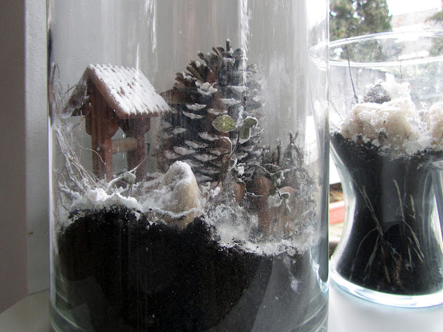 jars filled with Christmas decorations