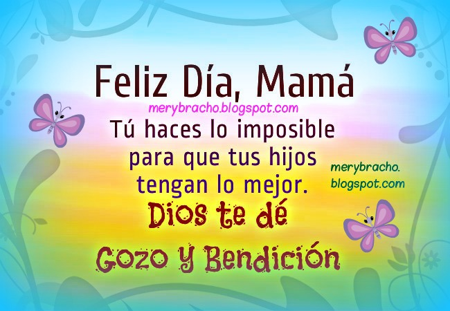 Feliz Día, Madre. Dios te dé Gozo y Bendición, cumpleaños mamá, día mujer, tarjetas cristianas.