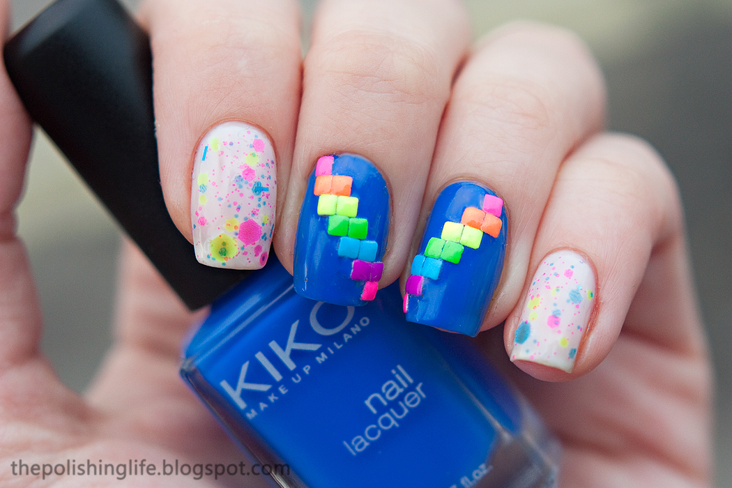 A neon rainbow manicure with Lush Lacquer (Polish Me Silly) Glowsticks, Kiko 336 and studs from Born Pretty store