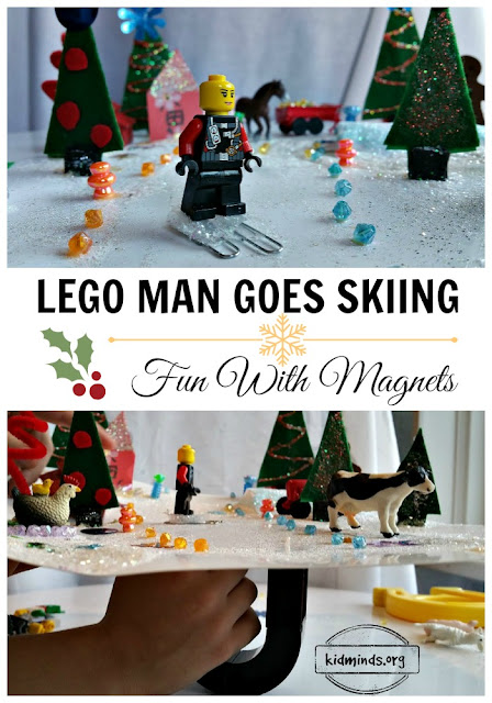 LEGO fun, magnet fun, learning fun, how to create Winter Wonderland