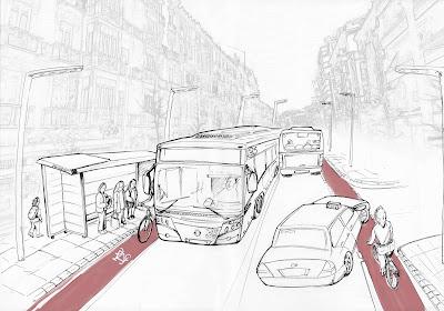 Propuesta del Ayuntamiento y Granada al Pedal para Gran Vía (Granada)