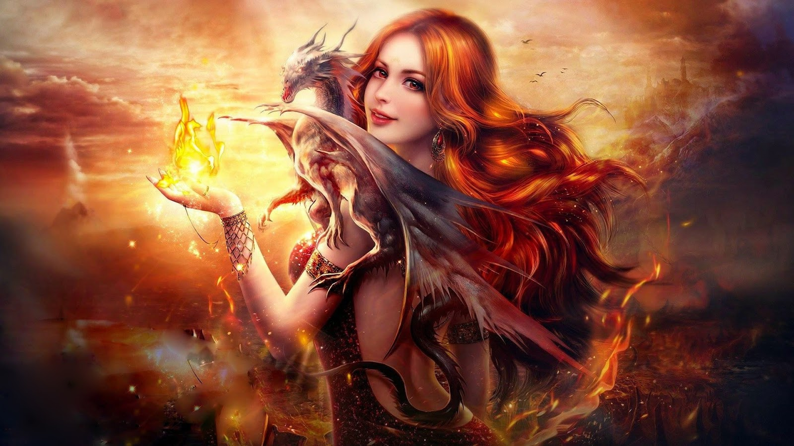 Dragon Fire Fantasy Girl HD Android Wallpaper
